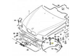 Câble à tirette (partie arrière) d'ouverture de capot pour BMW Série 5 E39