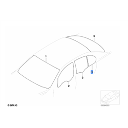 Vitre latérale arrière fixe (côté au choix) BMW Série7 E65