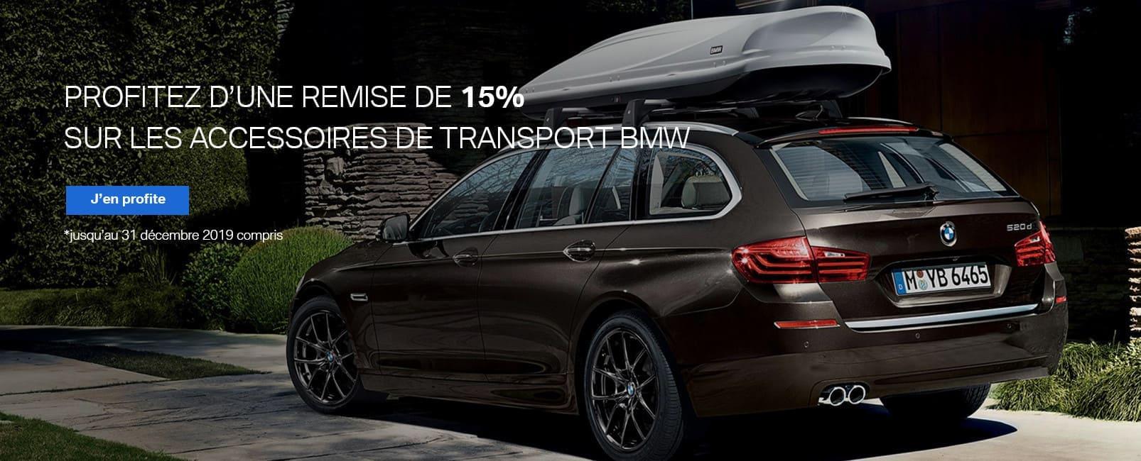 Profitez d'une remise de 15% sur les accessoires de transport BMW